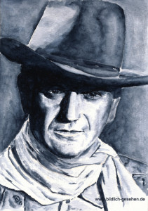 Aquarell John Wayne, The Duke